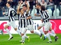 Juventus' Sebastian Giovinco celebrates with teammates following a goal against Sampdoria on January 6, 2013