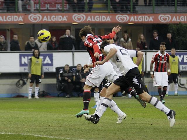 Milan striker Bojan scores a goal against Siena on January 6, 2013