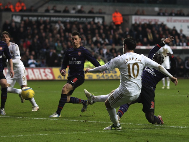 Swansea's Danny Graham scores a late equaliser against Arsenal on January 6, 2013