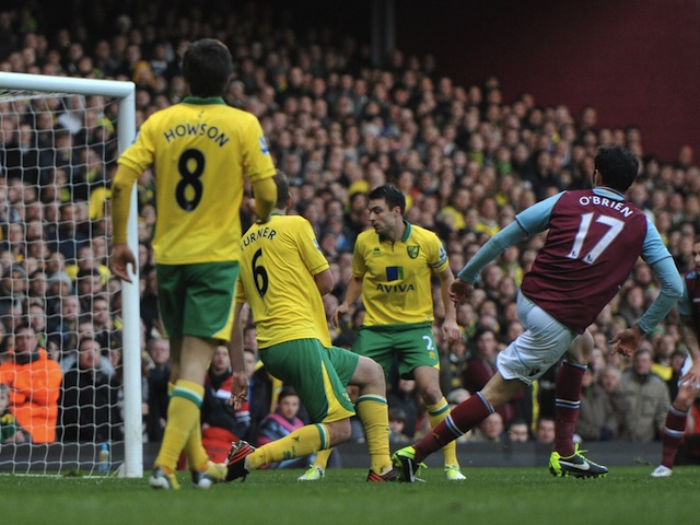 Hammers defender Joey O'Brien slots home their second goal against Norwich on January 1, 2013
