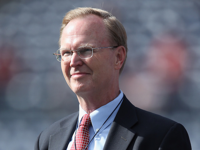 New York Giants President and CEO John Mara looks on prior to the start of the game against the San Diego Chargers at Qualcomm Stadium on December 8, 2013