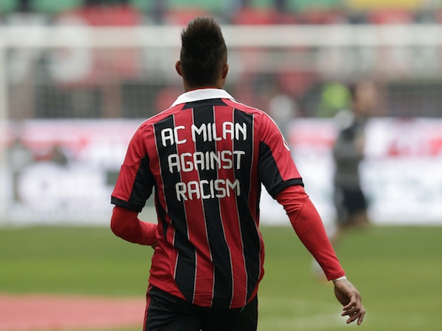 Milan midfielder Kevin Prince-Boateng sports an anti-racism shirt ahead of the game with Siena on January 6, 2013