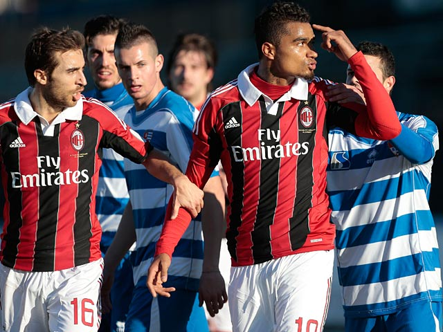 AC Milan's Kevin-Prince Boateng reacts after being racially abused during a match with Pro Patia on January 3, 2013