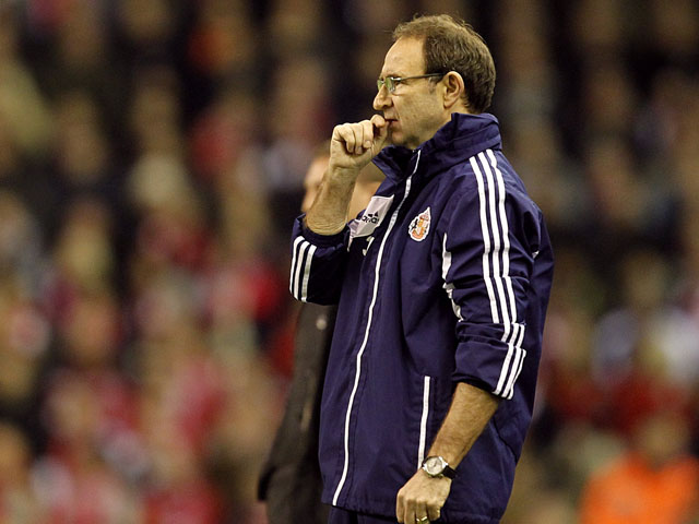 Sunderland manager Martin O'Neill during his team's match against Liverpool on January 2, 2013