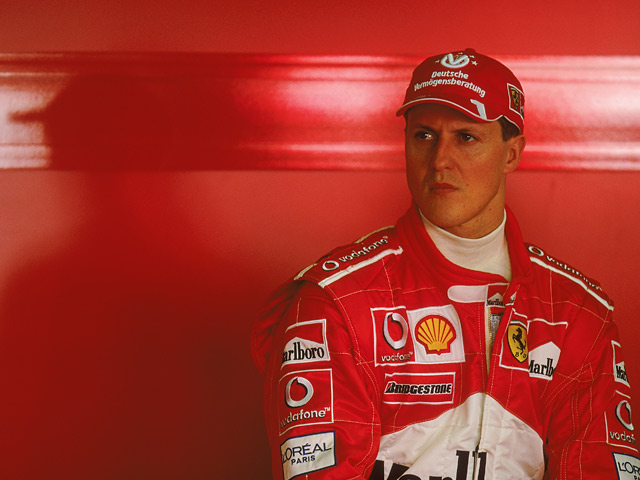 Ferrari's Michael Schumacher in the garage before the Australian Formula One Grand Prix on March 9, 2003