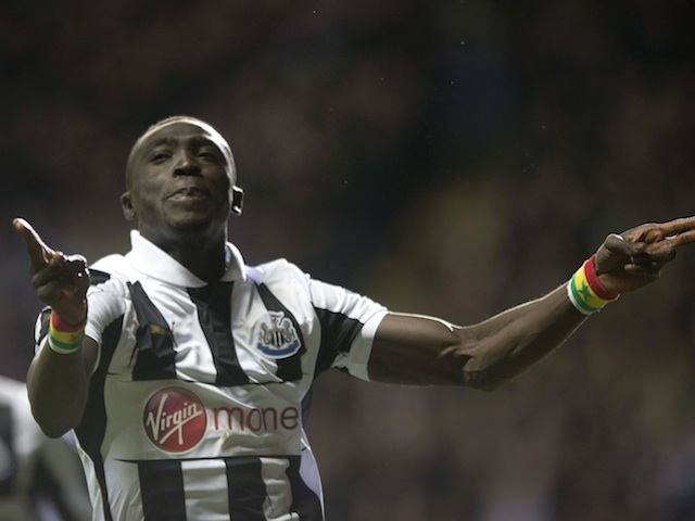Magpies striker Papiss Cisse celebrates his early goal in the game with Everton on January 2, 2013