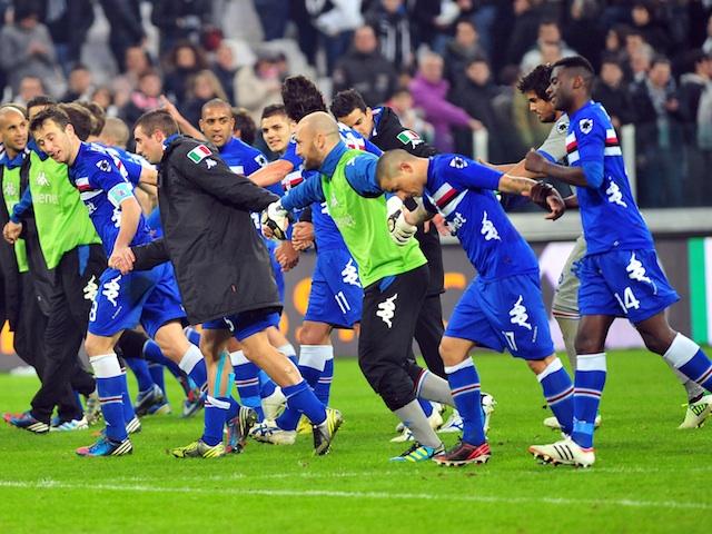 Sampdoria players celebrate their win over Juventus on January 6, 2013