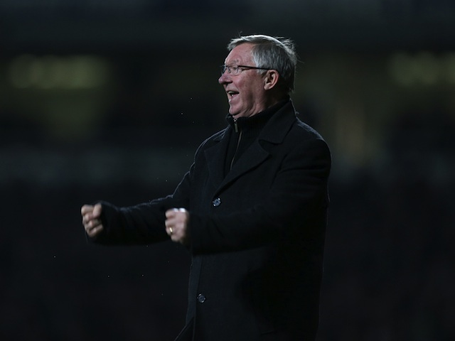 United manager Sir Alex Ferguson celebrates Van Persie's late equaliser at West Ham on January 5, 2013