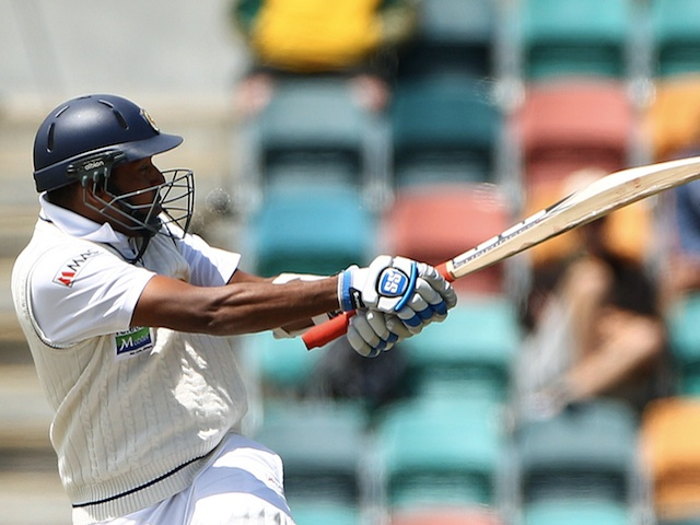 Sri Lanka's Thilan Samaraweera in action against Australia on December 18, 2012