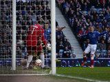 Rangers' Andrew Little slots home his team's opener against Berwick on January 12, 2013