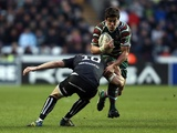Leicester's Anthony Allen is tackled by Ospreys' Dan Biggar during the match on January 13, 2013