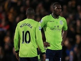 Villa's Christian Benteke and Charles N'Zogbia stand dejected during their 3-1 defeat to Bradford City on January 8, 2013