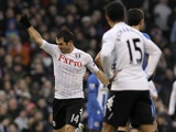 Fulham's Giorgos Karagounis celebrates his opening goal against Wigan on January 12, 2013