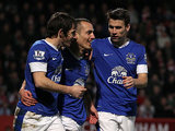 Leon Osman is congratulated by team mates Leighton Baines and Seamus Coleman after scoring his team's third goal against Cheltenham in the FA Cup on January 7, 2013