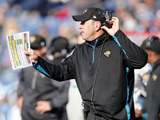 Jacksonville Jaguars head coach Mike Milarkey watches his side from the sidelines on December 30, 2012