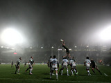 Tom Wood rises for the ball for Northampton during a Heineken Cup match on January 11, 2013