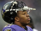 Ravens RB Ray Rice on the sidelines during the game with Denver on December 16, 2012