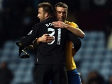 Saints forward Rickie Lambert celebrates the win over Aston Villa with goalkeeper Artur Boruc on January 12, 2013