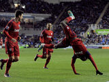 Romelu Lukaku celebrates in style after scoring his second against Reading on January 12, 2013