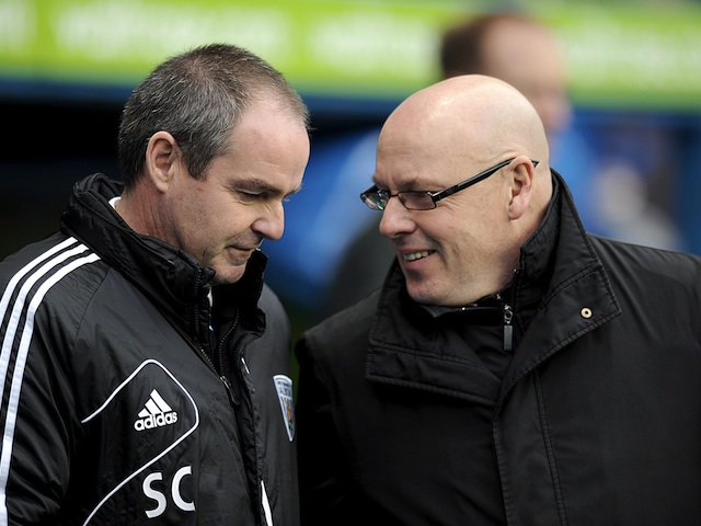 Bosses Brian McDermott and Steve Clarke chat prior to the kick-off of Reading v West Brom on January 12, 2013