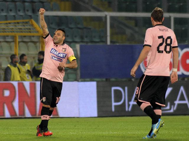 Fabrizio Miccoli celebrates scoring for Palermo during their Seria A match against Catania on 24 November, 2012