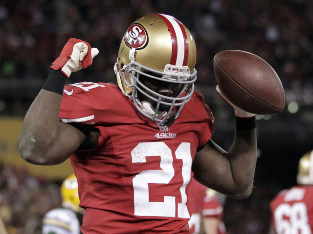 Frank Gore celebrates after scoring a 2-yard touchdown run against the Green Bay Packers on January 12, 2013