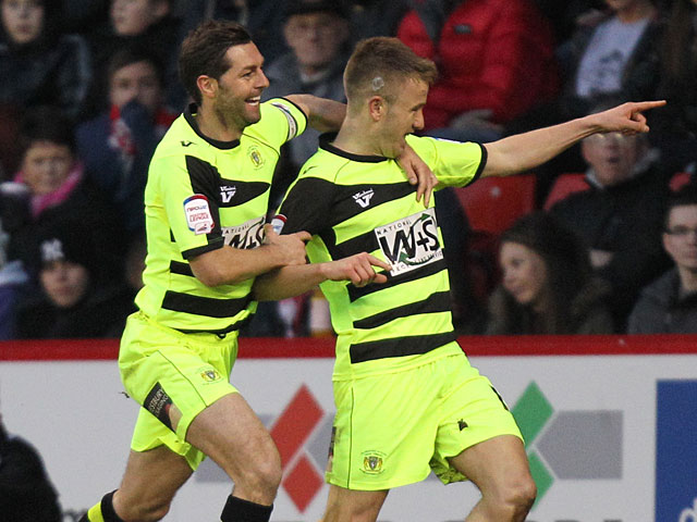 Yeovil Town's Paddy Madden celebrates moments after scoring the opening goal against Sheffield United on January 12, 2013