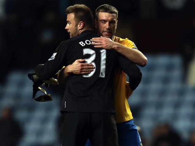 Saints forward Rickie Lambert celebrates the win over Aston Villa with goalkeeper Artur Boruc on January 12, 2013
