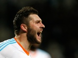 Marseille striker Andre-Pierre Gignac celebrates a goal against Montpellier on January 19, 2013
