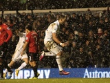 Spurs' Clint Dempsey celebrates his late equaliser against Man Utd on January 20, 2013