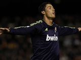 Real Madrid star Cristiano Ronaldo celebrates a goal against Valencia on January 20, 2013