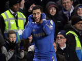 Eden Hazard celebrates scoring his team's second against Southampton on January 16, 2013