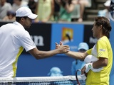 Jo-Wilfried Tsonga shakes hands with Japan's Go Soeda after their match on January 17, 2013