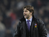Espanyol coach Mauricio Pochettino gestures during his sides match with FC Barcelona on February 21, 2009