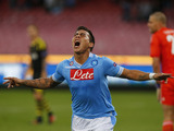 Napoli's Eduardo Vargas celebrates after scoring during his sides Europa League match on September 20, 2012
