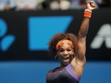 Serena Williams celebrates her second round win on January 17, 2013