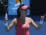 Poland's Agnieszka Radwanska questions a line call in her first round match at the Australian Open tennis championship on January 13, 2013