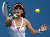 Poland's Agnieszka Radwanska playing a shot during her third round match at the Australian Open tennis championship on January 18, 2013