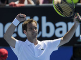 Frenchman Richard Gasquet celebrates after defeating Ivan Dodig in the third round at the Australian Open tennis championship on January 19, 2013