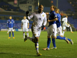Leeds United forward El-Hadji Diouf celebrates scoring his sides second goal against Birmingham City on January 15, 2013