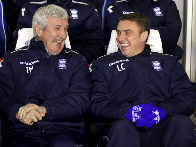 Birmingham manager Lee Clark laughs with his assistant Terry McDermott prior to kick off on January 15, 2013