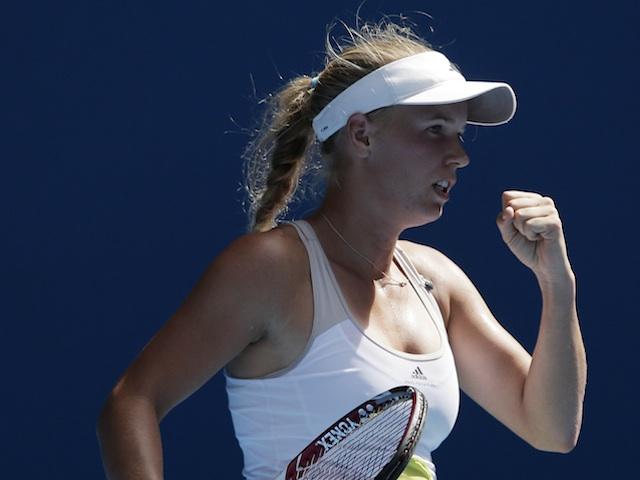 Caroline Wozniacki celebrates her second round win at the Australian Open on January 17, 2013
