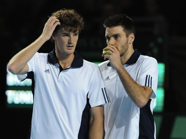 GB pair Colin Fleming & Jamie Murray in Davis Cup action on March 5, 2011