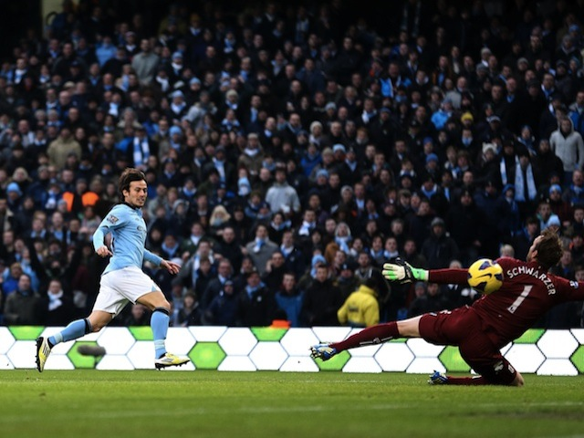 City midfielder David Silva opens the scoring against Fulham on January 19, 2013