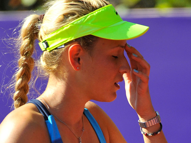 Donna Vekic reacts during a match on September 15, 2012