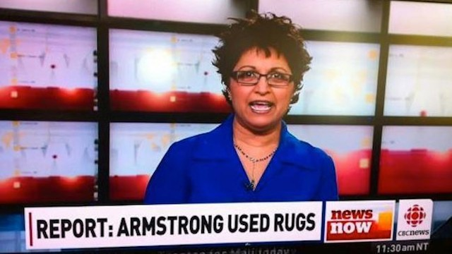 'Lance Armstrong used rugs' on CBC