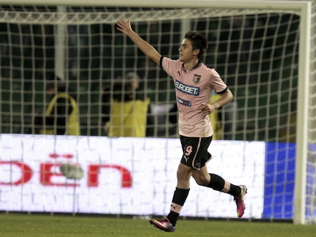 Palermo's Paulo Dybala celebrates his goal against Lazio on January 19, 2013