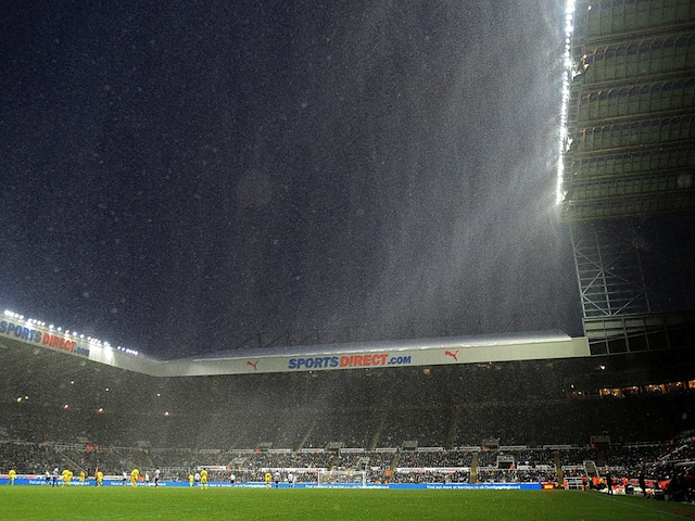 Heavy snow falls at St James' Park during the game between Newcastle and Reading on January 19, 2013