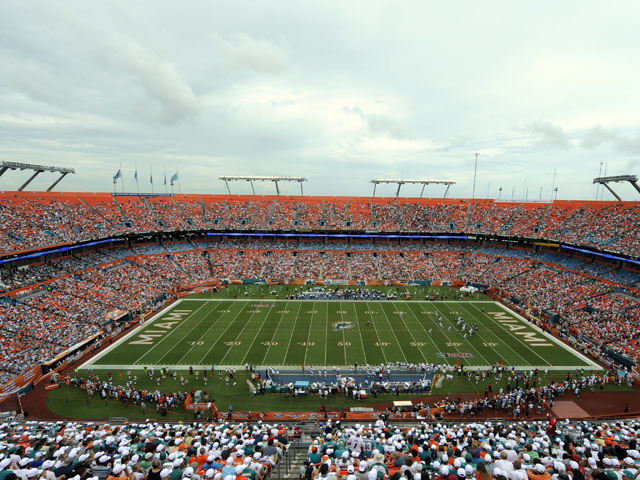 Fans occupy the Sun Life Stadium prior to the match between the Miami Dolphins and Oakland Raiders on September 16, 2012