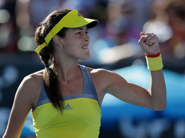 Serbia's Ana Ivanovic celebrates winning a point during her second round match at the at the Australian Open tennis championship on January 16, 2013